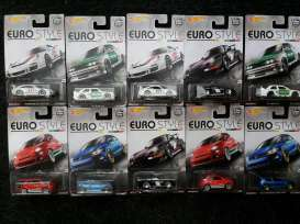 Hotwheels - Assortment/ Mix  - hwmvDJF77-956B : 1/64 Euro Style series Dash 956B With some great models like; Porsche 993GT2, Porsche 911 GT3 RS, 1992 BMW M3 Polizei, Volkswagen Golf MK7 and Fiat 500