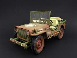 Jeep Willys - Militairy Police, muddy versio 1943 rough terrain muddy green - 1:18 - American Diorama - AD-77406A - AD77406A | Toms Modelautos