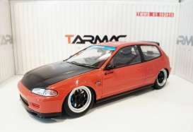Tarmac - Honda  - Tarmac01R : Spoon Honda Civic EG6 Gr.A Racing *Resin Series*, red with black bonnet