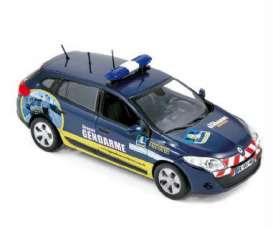 Norev - Renault  - nor517648 : 2012 Renault Megane Estate Gendarmerie Recrutement, blue