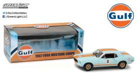 GreenLight - Ford  - gl12989 : 1967 Ford Mustang Coupe *Gulf Oil*, Gulf blue with orange stripes