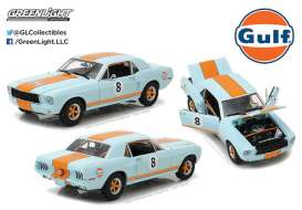 Ford  - Mustang Coupe *Gulf* 1967 gulf blue/orange - 1:18 - GreenLight - 12989 - gl12989 | Toms Modelautos