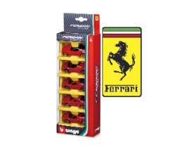Bburago - Ferrari  - bura56105r : 1/64 Ferrari 5 Pack Race & Play, red
