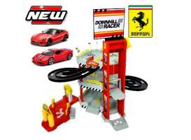 Bburago - Ferrari  - bura56096B : 1/64 Ferrari Double Lane Racing Garage + 2 Cars 599 GTO and 458 Special, red