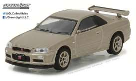 GreenLight - Nissan  - gl29880D : 2001 Nissan Skyline GT-R R34 M-Spec Silica Breath *Tokyo Torque Series 1*, gold