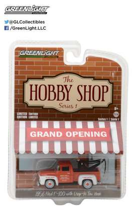 GreenLight - Ford  - gl97010A : 1956 Ford F-100 with Drop-in Tow Hook *The Hobby Shop Series 1*