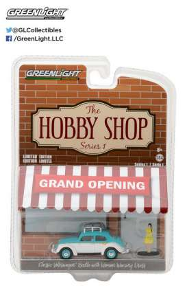 GreenLight - Volkswagen  - gl97010F : 1/64 Classic Volkswagen Beetle with Roof Rack and Woman in Dress *The Hobby Shop Series 1*