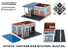 GreenLight - Accessoires  - gl57012 : 1/64 Vintage Gas Station Gulf Oil *Mechanic's Corner Series 1*