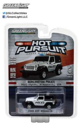 GreenLight - Jeep  - gl42800D : 2009 Jeep Wrangler Burlington Wisconsin *Hot Pursuit series 23*