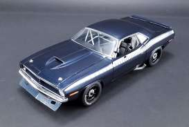 Acme Diecast - Plymouth  - acme1806101B : 1970 Plymouth Barracuda  Trans Am Race car street version, blue/white