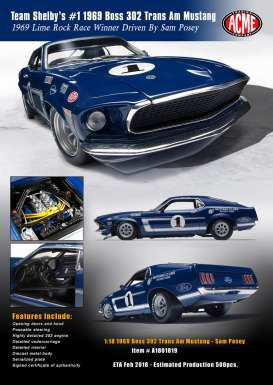 Acme Diecast - Ford  - acme1801819 : 1969 Boss 302 Team Shelby Ford Trans AM Mustang #1 Sam Posey.