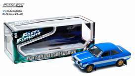 GreenLight - Ford  - gl19038 : 1974 Ford Escort I RS 2000 *Fast & Furious 6*, blue with white stripes and gold rims in special F&F packaging.