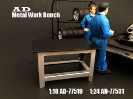 American Diorama - diorama Accessoires - AD77531 : 1/24 Metal Work Bench, black/silver
