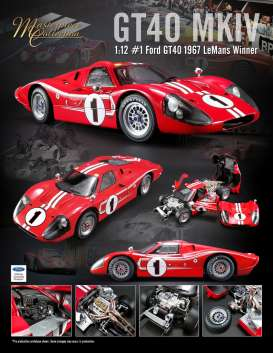 Ford  - GT40 MKIV #1 1967 red/white - 1:12 - Acme Diecast - acmeM1201002 | Tom's Modelauto's