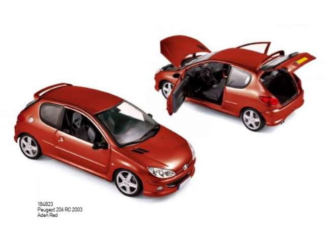 Peugeot 206 Rc 2003 Red 1:18 Model 184823 NOREV