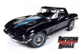 Chevrolet  - Corvette roadster 1967 black - 1:18 - Auto World - AMM1099 | Tom's Modelauto's
