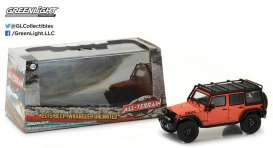 GreenLight - Jeep  - gl86088 : 2015 Jeep Wrangler Unlimited Willy's Wheeler Edition with Off-Road Bumpers and Roll Cage, Sunset Orange Metallic