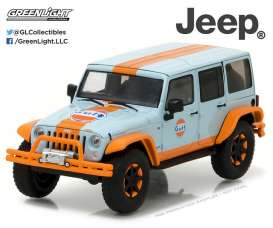 GreenLight - Jeep  - gl86089 : 2015 Jeep Wrangler Unlimited Gulf Oil with Off-Road Bumpers, gulf blue/orange