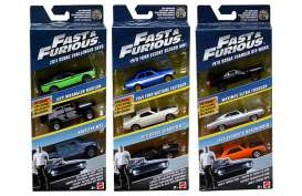 Hotwheels - Assortment/ Mix  - hwmvFCG01-965A : 1/55 Fast & the Furious 3-car pack In Nice F&F Packaging.