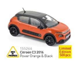 Norev - Citroen  - nor155266 : 2016 Citroën C3, orange/black