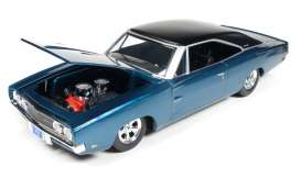 Auto World - Dodge  - AW24005 : 1/24 1969 Dodge Charger custom, blue with black roof.