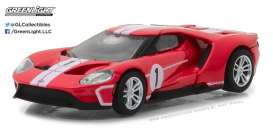Ford  - GT 2017 red/white - 1:64 - GreenLight - gl13200D | Tom's Modelauto's