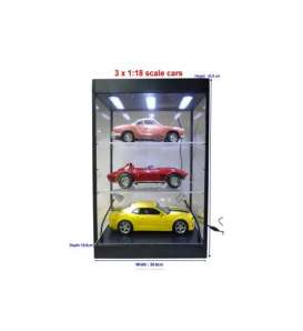 Triple9 Collection - Accessoires diorama - T9-69927 : Led Show case with 1 or 2 shelves (cars & Figures not included). This case comes with Led Light in the the top and base of the case. The case can be powered with a Micro USB Cable which you can plug in your phone or computer.