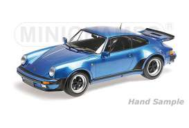 Minichamps - Porsche  - mc125066104 : 1977 Porsche 911 Turbo, blue metallic