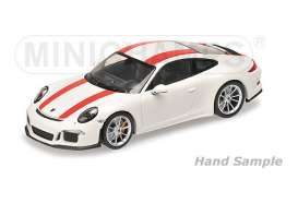 Minichamps - Porsche  - mc125066320 : 2016 Porsche 911 R, white with red stripes