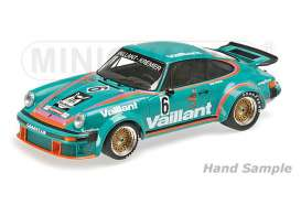 Minichamps - Porsche  - mc125766406 : 1976 Porsche 934 Vailliant Bob Wollek Team Kremer Racing Winner DRM Norisring, turquoise/orange