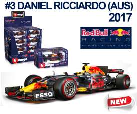 Bburago - Red Bull Racing   - bura38027R : 2017 Red Bull RB13 F1 #3 Daniel Ricciardo, blue/red/yellow