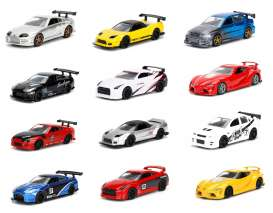 Jada Toys - Assortment/ Mix  - jada14036W1H~12 : 1/64 *JDM Tuners* Assortment in a tray with 12pcs.