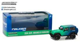 GreenLight - Jeep  - gl86090 : 2014 Jeep Wrangler Rubicon Falken Tire, green/blue