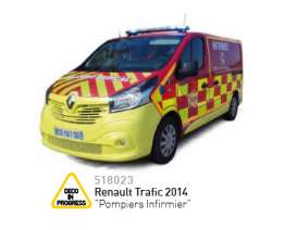 Norev - Renault  - nor518023 : 2014 Renault Trafic Pompiers Infirmier, yellow/red