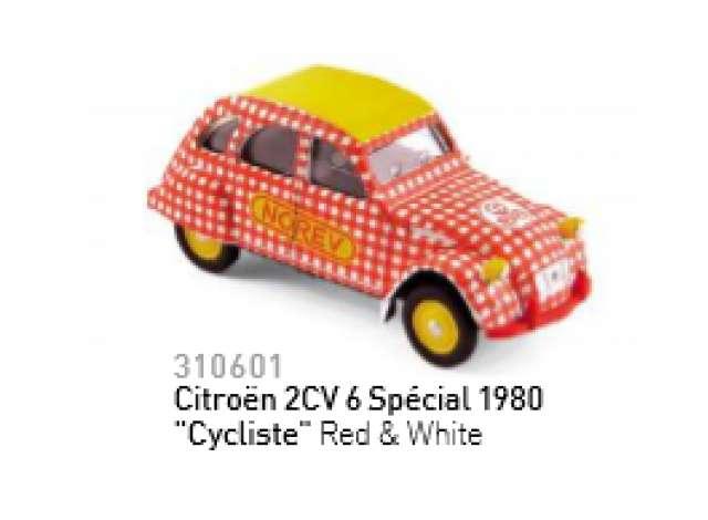 "Red /& White/"" Norev 310601 Citroën 2CV 6 Spécial 1980 /""Cycliste"