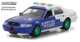 GreenLight - Ford  - gl37120F : 2001 Ford Crown Victoria Police Interceptor North Pole *GreenLight Holiday Ornaments Series 2*
