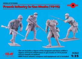 ICM - Figures  - icm35696 : 1/35 1918 French Infantry in Gas Masks (4), plastic modelkit