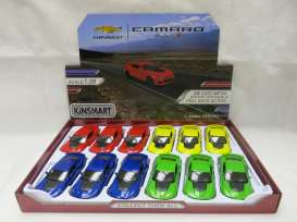 Kinsmart - Chevrolet  - KT5399D~12 : 2017 Chevrolet Camaro ZL1, Assortment tray of 12 with 4 colours in the tray (yellow, red, blue, green).