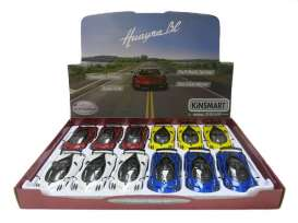 Kinsmart - Pagani  - KT5400D~12 : 2016 Pagani Huayra BC, Assortment tray of 12 with 4 colours in the tray (yellow, red, blue, white).
