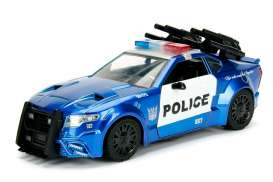 Jada Toys - Transformers  - jada98400 : 1/24 Transformers 5 Barricade Police Car in Nice Transformers 5 Packaging & Robot on the Chassis.