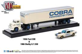 "M2 Machines - Ford Shelby - m2-36000-24A : 1956 Ford COE + 1966 Shelby G.T. 350 ""Drag Car""  *Auto Haulers series 24* white/blue"