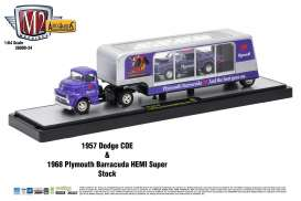 M2 Machines - Dodge Plymouth - m2-36000-24B : 1957 Dodge COE + 1968 Plymouth Barracuda *Auto Haulers series 24* purple/silver