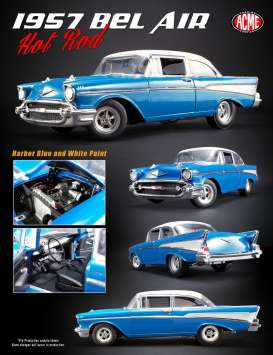 Acme Diecast - Chevrolet  - acme1807004 : 1957 Chevrolet Bel Air Hot Rod, blue/white