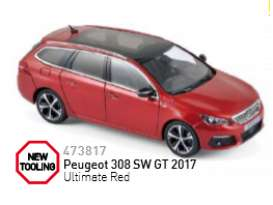 Peugeot  - 2017 ultimate red - 1:43 - Norev - nor473817 | Tom's Modelauto's