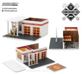 GreenLight - diorama  - gl57021 : 1/64 Vintage Gas Station *Shell Oil* Mechanic's Corner Series 2