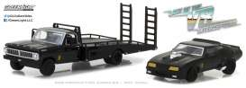 GreenLight - Ford  - gl29925 : Set of 2 1972 Ford F-350 Ramp Truck + 1973 Ford Falcon XB Last of the V8 Interceptors (1979), Hobby Exclusive, black