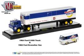 M2 Machines - Ford  - m2-36000-25C : 1964 Ford C-950 Truck (Blue) + 1965 Ford Econoline Delivery Van *Auto Haulers series 25* blue/white