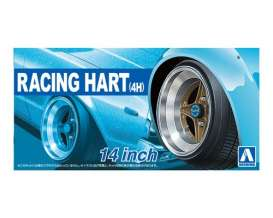 Aoshima - Wheels & tires  - abk153775 : 1/24 Racing Hart (4H) 14 inch, plastic modelkit