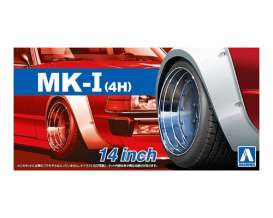 Aoshima - Wheels & tires  - abk153874 : 1/24 Mark (4H) 14inch, plastic modelkit