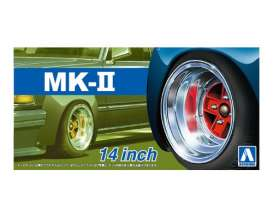 Aoshima - Wheels & tires  - abk153881 : 1/24 Mark II (4H) 14inch, plastic modelkit